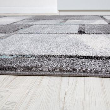 Edler Designer Teppich Hochtief-Effekt Kurzflor Karo Optik Grau Türkis Meliert – Bild 2