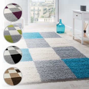 Shaggy Rug High-pile Long Pile Patterned Chequered In Various Colours – Bild 1