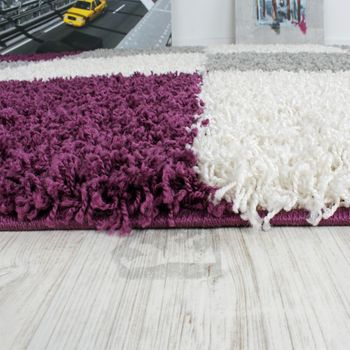 Shaggy Rug High-pile Long Pile Patterned Chequered In Various Colours – Bild 15