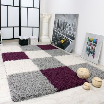 Shaggy Rug High-pile Long Pile Patterned Chequered In Various Colours – Bild 14
