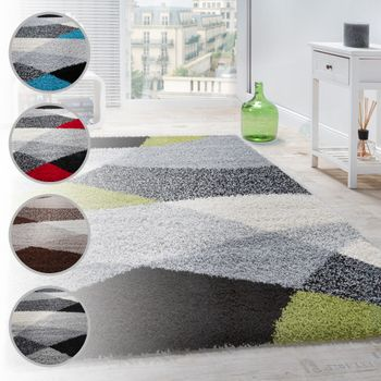 Shaggy Rug High Pile Long Pile Soft Geometrically Patterned In Different Colours – Bild 1