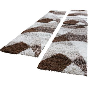 Bed Border Runners Deep-pile Shag-pile Rug Soft Brown Beige Runner Set 3-Piece – Bild 1