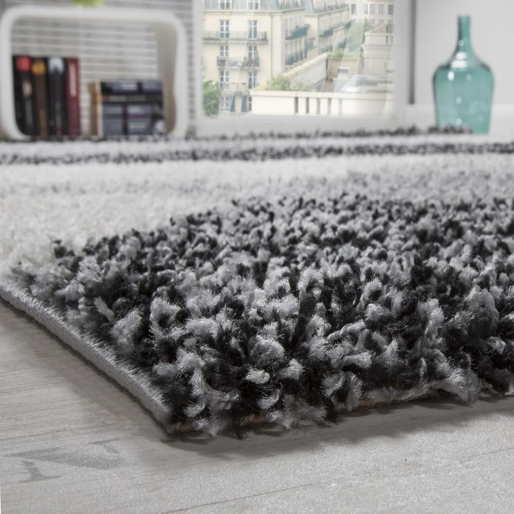 bettumrandung l ufer hochflor shaggy teppich weich grau meliert l uferset 3 tlg teppiche. Black Bedroom Furniture Sets. Home Design Ideas