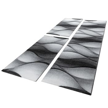 Designer Rug - Bedroom Runners Marble Look - Set Of 3 Grey Black  – Bild 1
