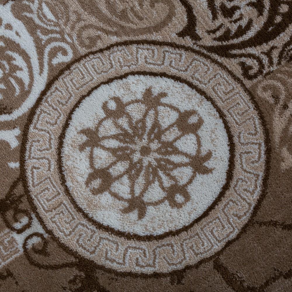 Paco Home Alfombra De Dise/ño Moderna Mezclada Floral con Estampado Meandro De C/írculos Beige Y Crema tama/ño:60x100 cm