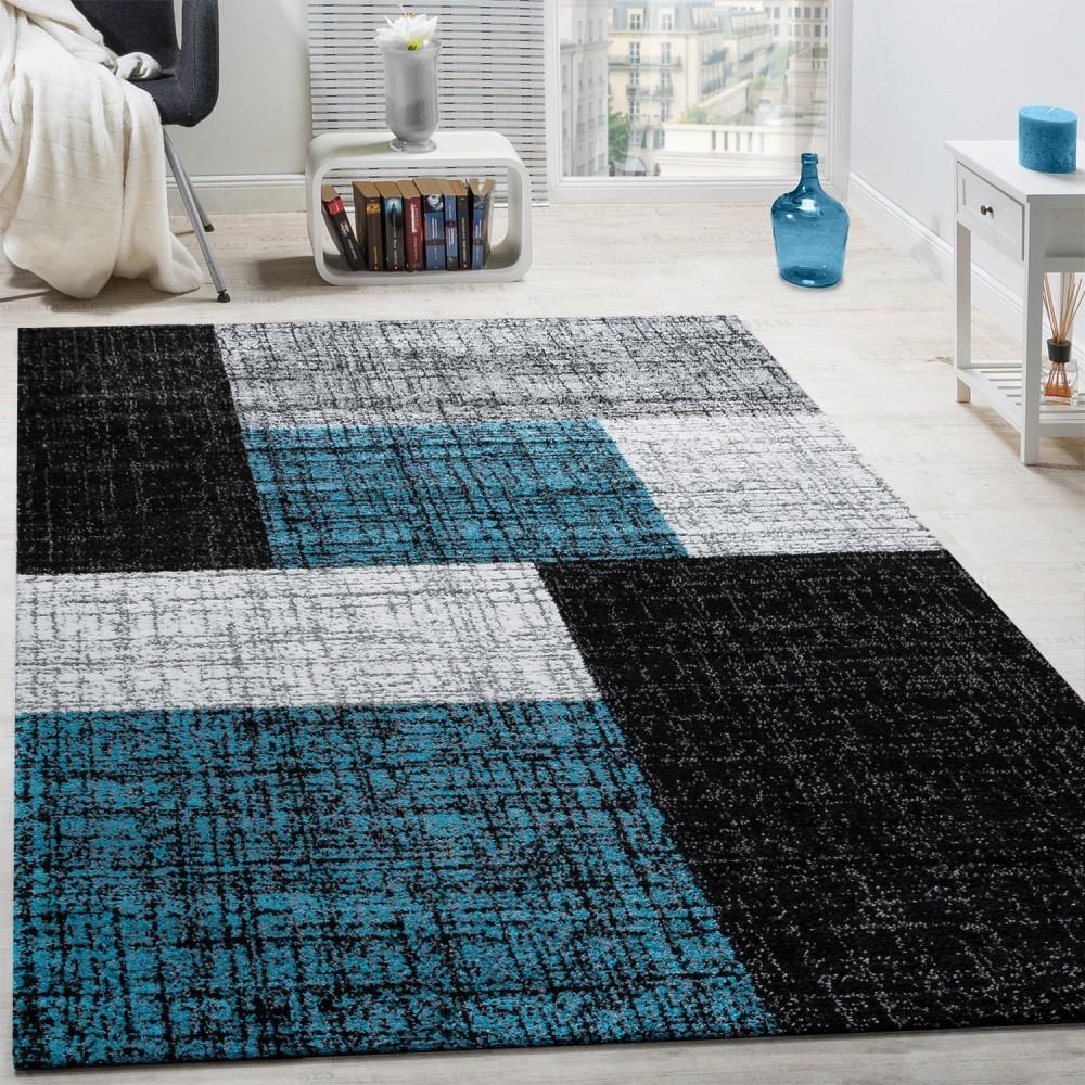 designer teppich modern kurzflor karos und rechtecke meliert grau schwarz t rkis teppiche. Black Bedroom Furniture Sets. Home Design Ideas