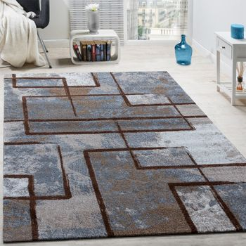 Designer Rug Modern Short-pile Abstract Paint Effect Brown Beige Cream – Bild 1