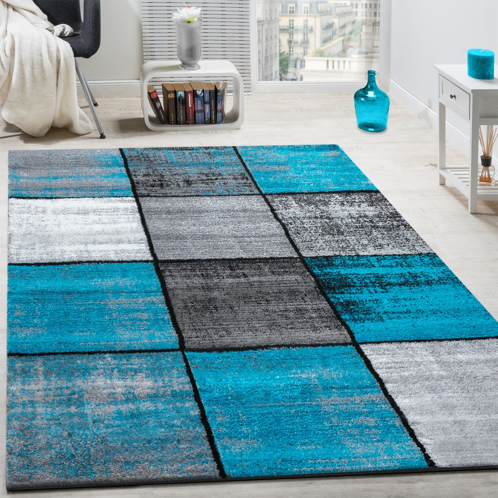 tapis design moderne poils ras carreaux sp cial chin gris noir turquoise tapis tapis poil ras. Black Bedroom Furniture Sets. Home Design Ideas