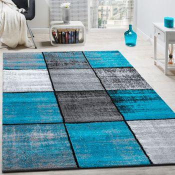 Teppich Karos Meliert Türkis