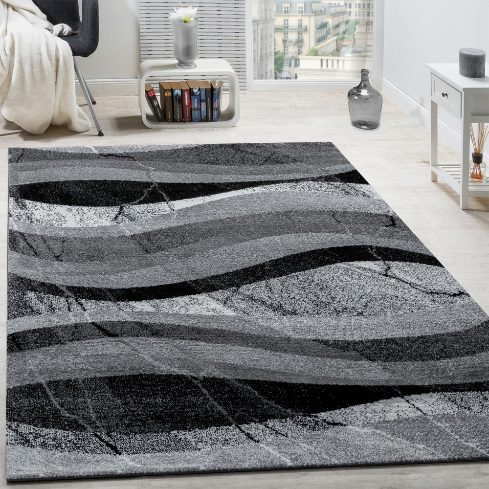 tapis design moderne poils ras vagues effet abstrait gris noir anthracite tapis tapis poil ras. Black Bedroom Furniture Sets. Home Design Ideas