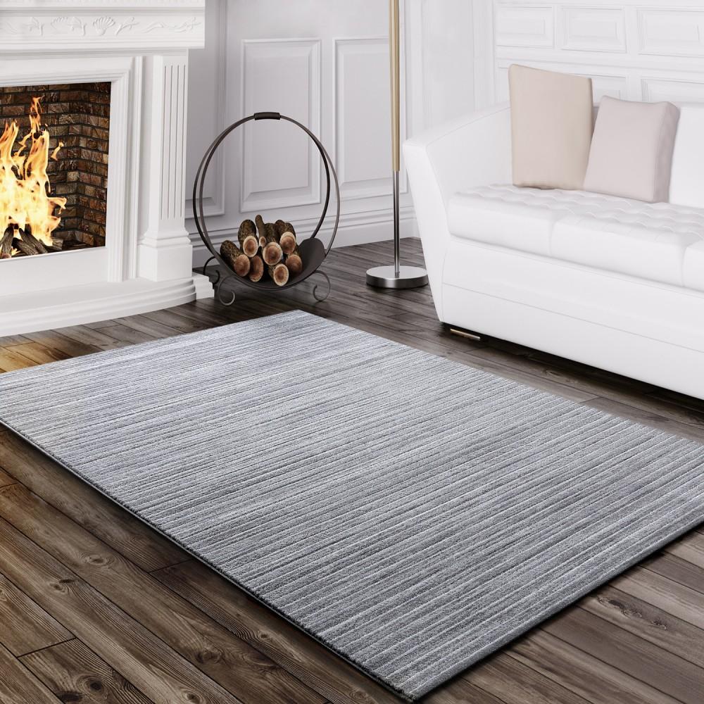 tapis salon moderne fil scintillant ray lignes poils ras chin gris - Tapis Gris