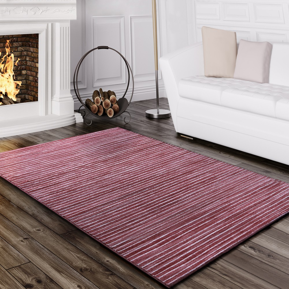 Tapis Salon Rayé Rose