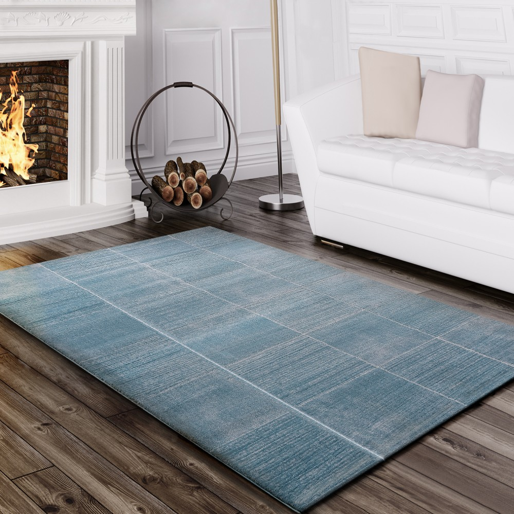 Rug Living Room Contour-cut Checked Striped Design Mottled Turquoise