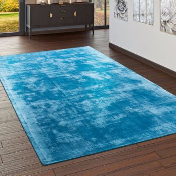 High-Quality Handmade Rug, 100% Viscose, Vintage, Striking Turquoise, Mottled – Bild 1