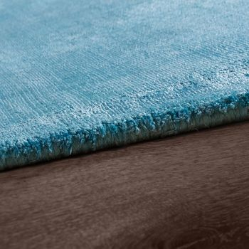 High-Quality Handmade Rug, 100% Viscose, Vintage, Striking Turquoise, Mottled – Bild 2