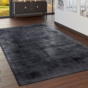 High-Quality Handmade Rug, 100% Viscose, Vintage, Optical Mottling, Anthracite – Bild 1