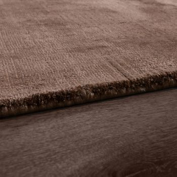 Rug, Handmade, High-Quality 100% Viscose Vintage Look Mottled In Brown – Bild 2