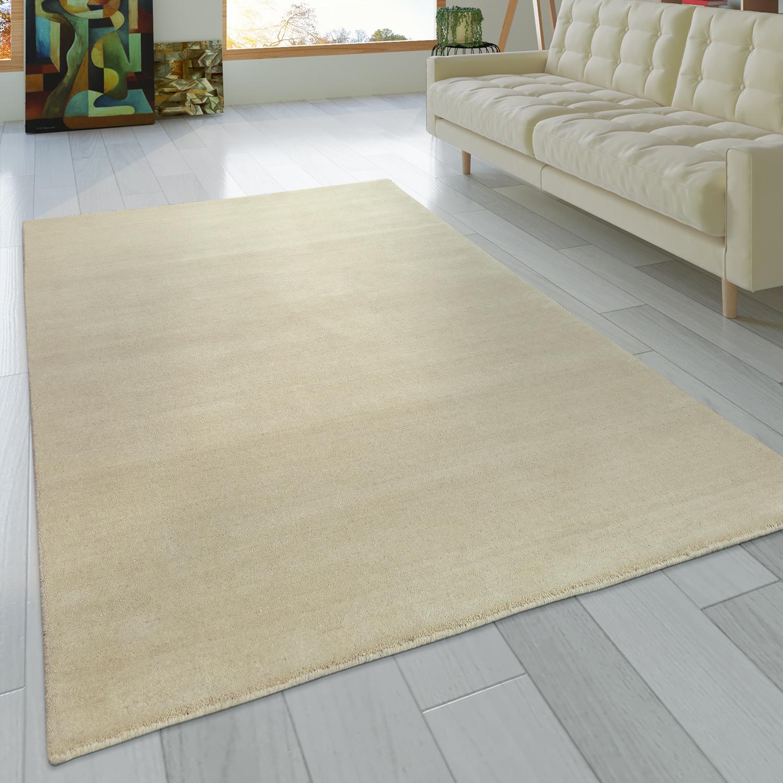 Teppich Handgeknotet Gabbeh Hochwertig 100% Wolle Dezent Meliert Uni Creme