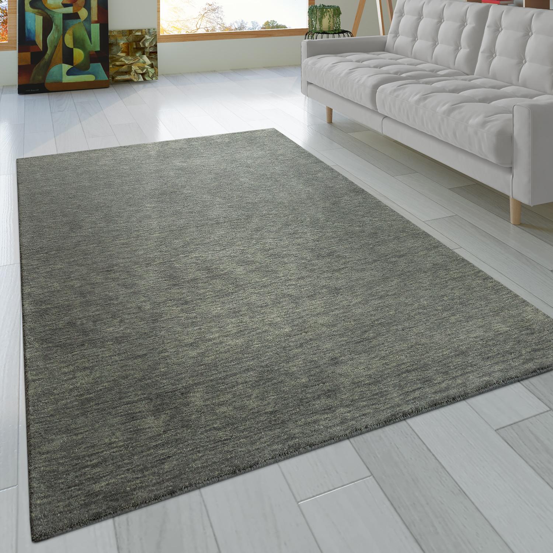 Alfombra anudada a mano gabbeh de alta calidad 100 lana discreta jaspeada en gris liso - Alfombras a mano ...
