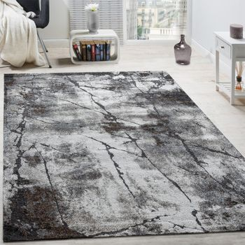 Elegant Designer Rug Living Room Abstract 3D Used Effect Natural Tones Grey – Bild 1