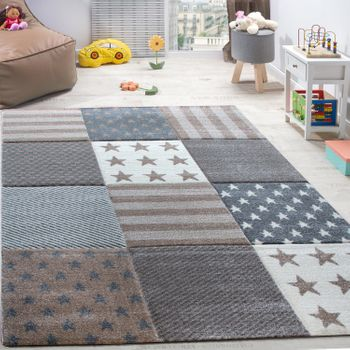 Children's Rug Stars Pattern Short-pile Contour-cut Check Design Beige Cream – Bild 1
