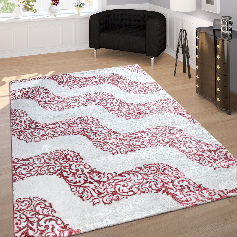 Designer Teppich Edel Konturenschnitt Floral Muster Meliert Rosa Creme