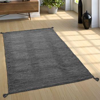 Designer Teppich Webteppich Kelim Handgewebt 100% Baumwolle Modern Meliert Grau – Bild 1