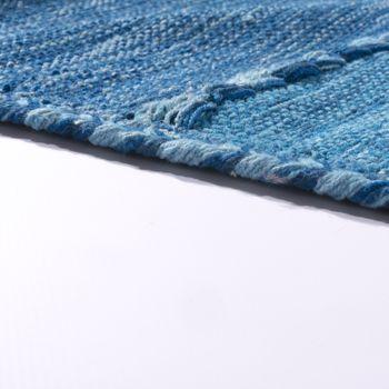 Designer Teppich Webteppich Kelim Handgewebt 100% Baumwolle Modern Gemustert Blau – Bild 2