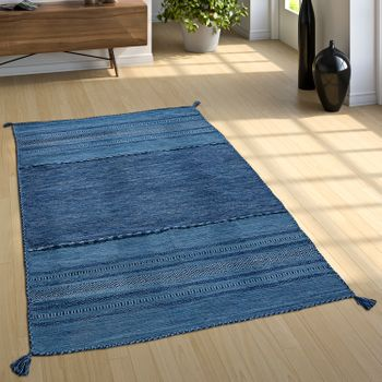 Woven Rug, Kilim Patterned, Blue