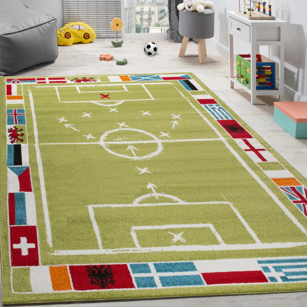 tapis pour enfants football design poils ras terrain de football tapis de jeu blanc vert tapis. Black Bedroom Furniture Sets. Home Design Ideas