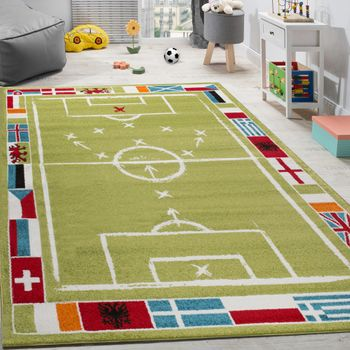 Children's Rug Football Design Short-pile Football Pitch Play Mat White Green – Bild 1