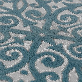 Designer Rug Elegant Baroque Design Floral Pattern Mottled Grey Cream Light Blue Turquoise – Bild 3