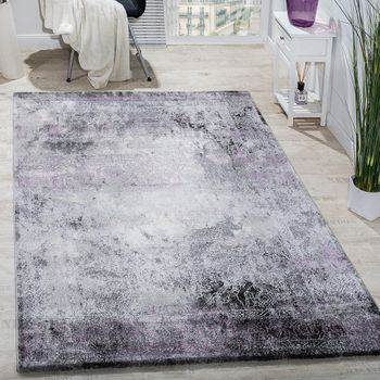 Designer Rug Living Room Rugs 3D Elegant Shabby Chic Vintage in Grey Purple – Bild 1