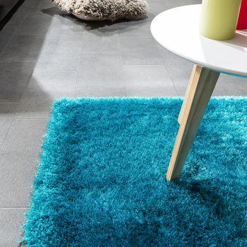 Edler Teppich Shaggy Hochflor Einfarbig Flauschig Glänzend In Türkis – Bild 3