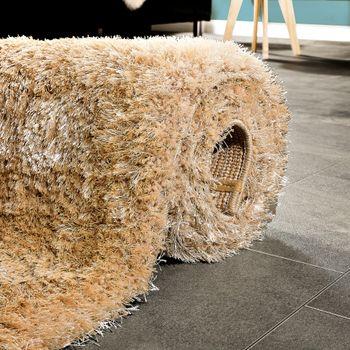 Elegant Rug shaggy Deep-pile Plain fluffy sparklIng In beige – Bild 4