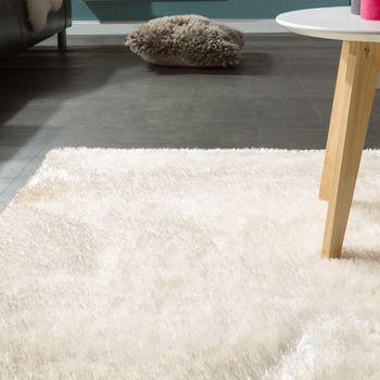 Edler Teppich Shaggy Hochflor Einfarbig Flauschig Glänzend In Weiß  – Bild 3