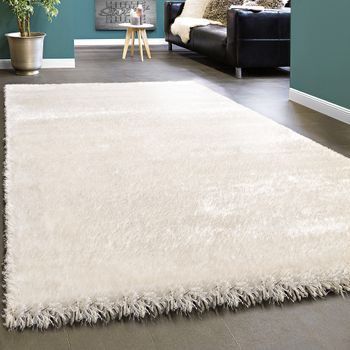 Elegant Rug shaggy Plain White