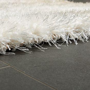 Edler Teppich Shaggy Hochflor Einfarbig Flauschig Glänzend In Weiß  – Bild 2