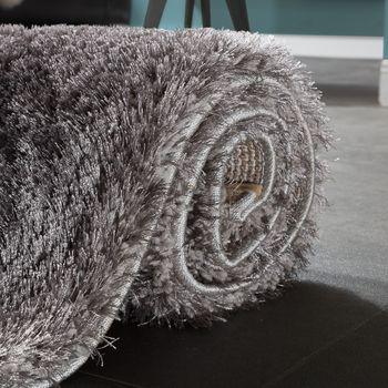 Edler Teppich Shaggy Hochflor Einfarbig Flauschig Glänzend In Grau Hellgrau – Bild 4