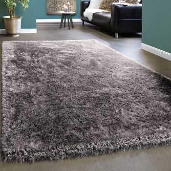 Elegant Rug shaggy Plain Grey