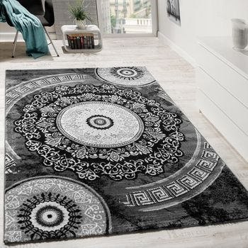 Rug Patterned With Shimmering Yarn Charcoal