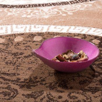 Designer Teppich Mit Glitzergarn Wellen Ornamente Gemustert In Beige Creme – Bild 2