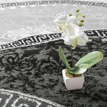 Designer Teppich Mit Glitzergarn Wellen Ornamente Gemustert In Grau Anthrazit – Bild 3