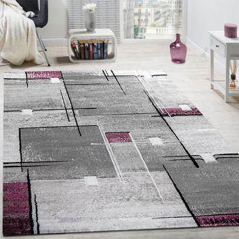 Designer Teppich Abstrakt Grau Lila Meliert