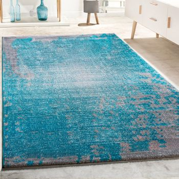 Designer Rug livIng Room Vintage With splash Pattern In Grey turquoise Mottled – Bild 1