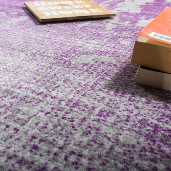 Designer Rug livIng Room Vintage With splash Pattern In Grey Lilac Mottled – Bild 3