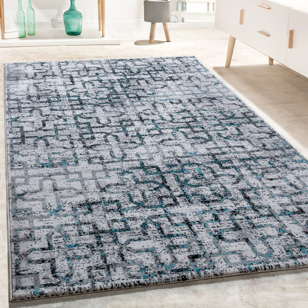 tapis de cr ateur salon moderne motif croix en gris noir turquoise tapis tapis poil ras. Black Bedroom Furniture Sets. Home Design Ideas