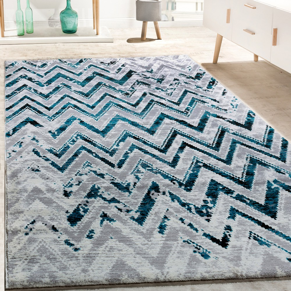 tapis de cr ateur salon moderne zigzag gris turquoise cr me chin tapis tapis poil ras. Black Bedroom Furniture Sets. Home Design Ideas
