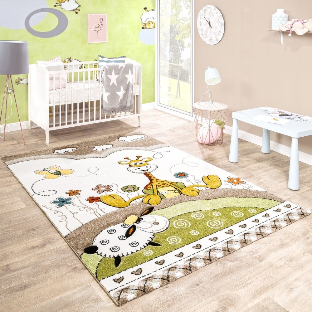 kinderteppich kinderzimmer konturenschnitt baby giraffe beige creme pastellfarben kinderteppiche. Black Bedroom Furniture Sets. Home Design Ideas