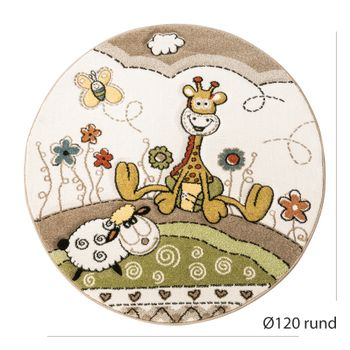 Children's Rug Nursery Contour Cut Baby Giraffe Beige Cream Pastel Colours – Bild 4
